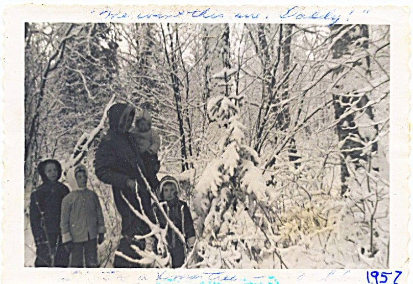 1957 First Christmas in Alaska -- I DID go on the tree hunt!