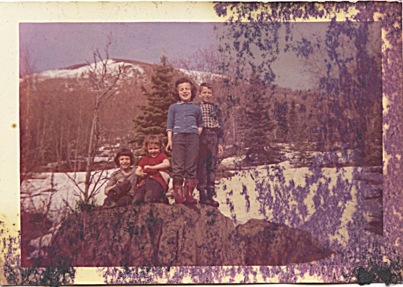 "1960 May 7 (me age 8) - The Four of Us -- definite fire related damage to this one -- the happy picture?  Anyone recognize where this rock is?  Mother says on back ""The children call this rock 'Meat Loaf Mountain'"