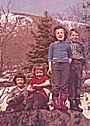 1960 May 7 - close up 4 of us -- I don't recognize this spot, but I am so happy to see that I look HAPPY!  We all look happy!  SICKENING that is such an extraordinary event for us in childhood -- so rare, to be actually happy!?!  At least sure true for me