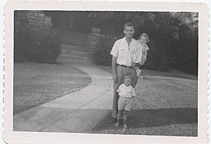 1952 - me 11 months old with dad and John - at Atchinson [st.?], Pasadena, California