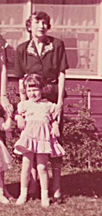 1955 Linda closeup with grandmother in front of the Glendora, (L.A.) house before Alaska - I was 3