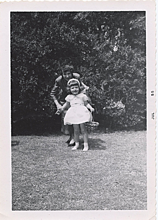 "1955 Easter - I was 3 - mother wrote on back of photo - ""Looking for eggs at Grandma's house - Grandma made those darling head bands of flowers for you girls herself"" --"