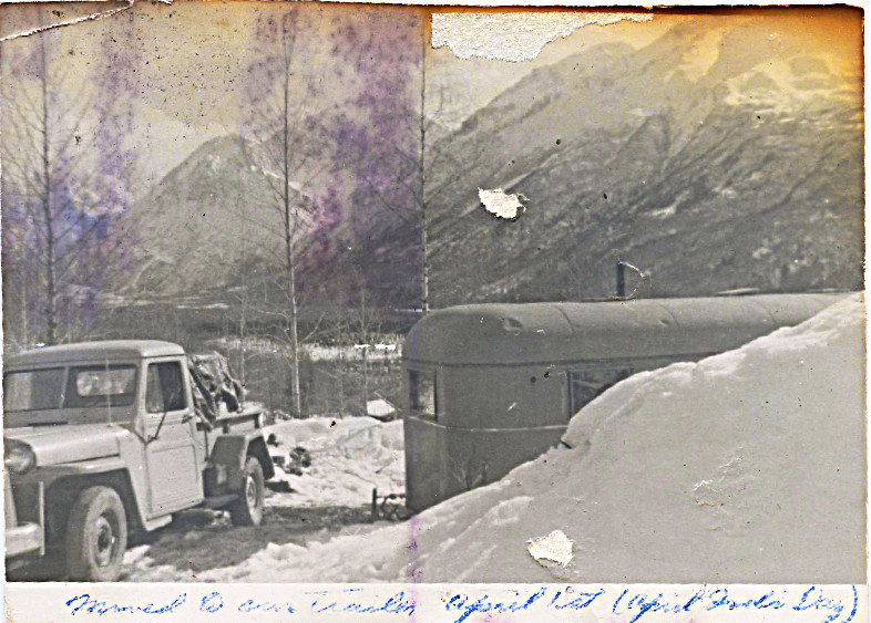 1959 - April 1 - Parked at Pollard's bottom of Horror Hill - nice shot of Jeep truck - until I saw these photos I always remembered from childhood that truck had lights on its roof -- nope nope nope!