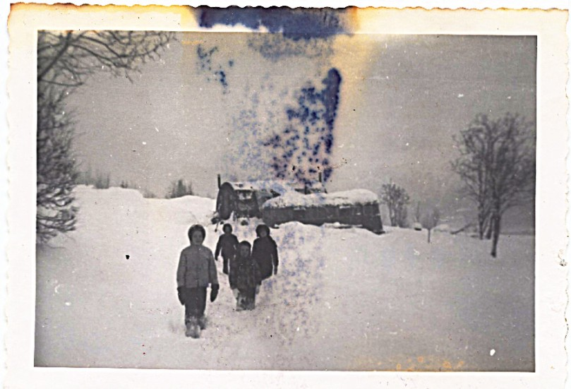 1959 December, end of our road!  Jamesway and trailer, and four mountain hikers