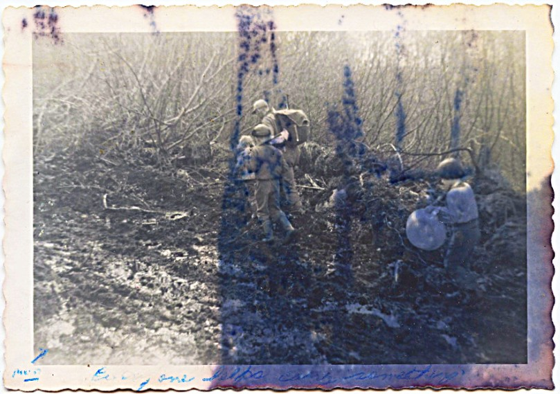1959 May - damaged photo, but of a 'moment' walking mountain road