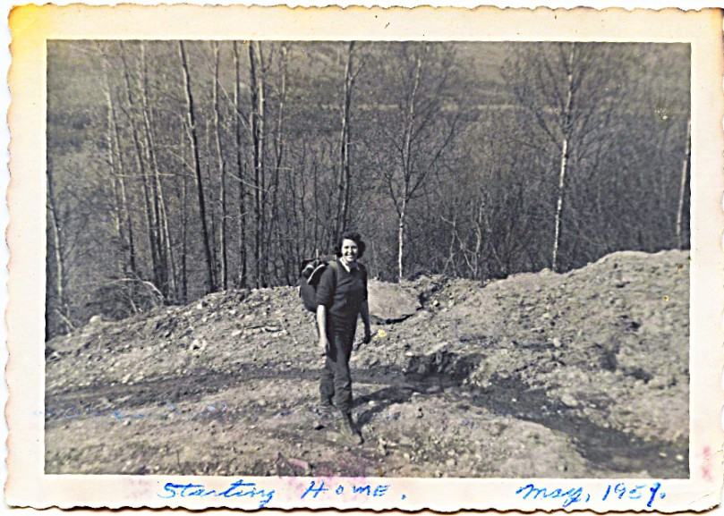 1959 May - Mother walking the homestead mountain road -- if I had a wish, I would wish that my mother had been well