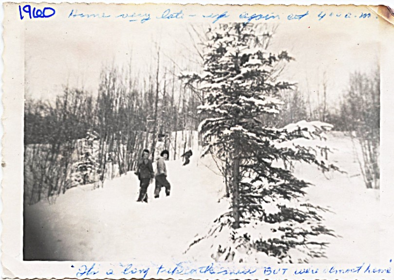 """1960 Cindy and I - Mother says on photo:  Home very late - up again at 4:00 A.M. -- It's a long trip in the snow BUT we're almost home"""""""