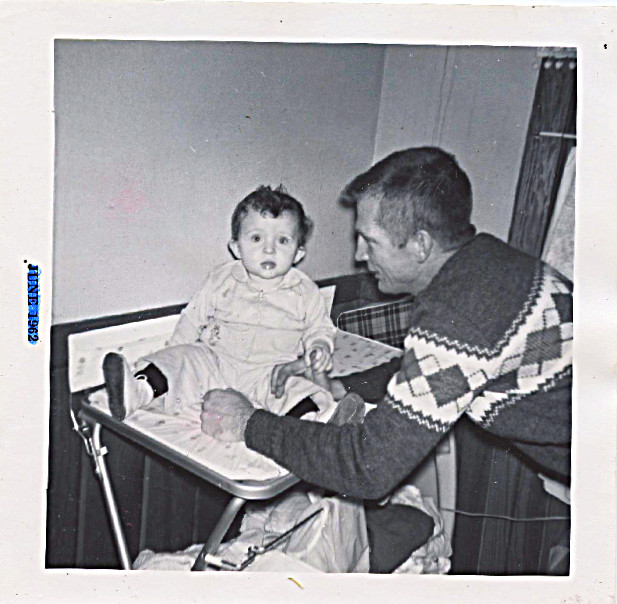 1961 Dad and David (on changing table) probably still at Government Hill Panoramic View Apartments