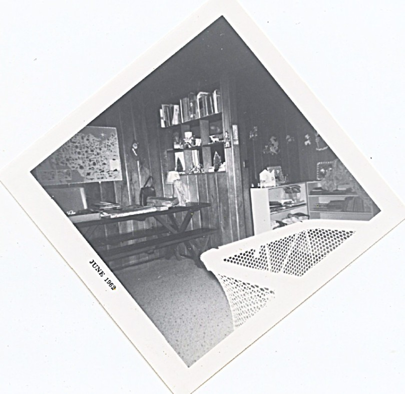 1962 inside log house, kitchen would have been on right behind that wall