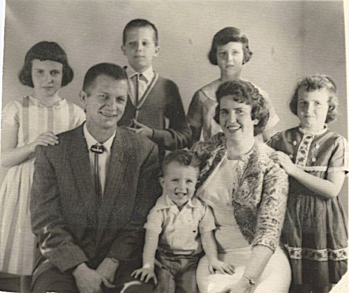 June 11, 1963 family portrait, I think the only one we ever had taken.  David in front, Cindy behind dad, John, Linda and Sharon