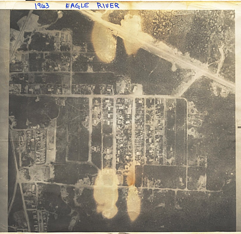 1963 Fly-over photograph of Eagle River (poor quality - fire damaged)