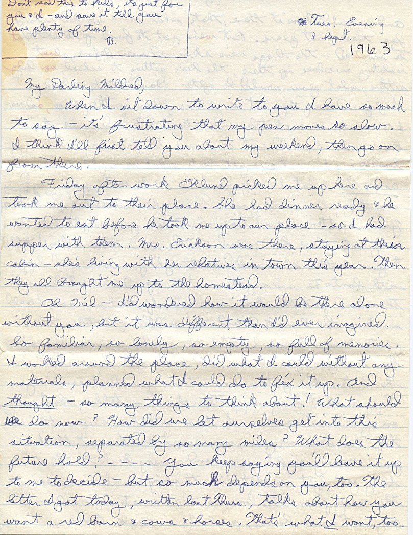 1963 - September 3 Letter from Dad to mother - Dad was left handed