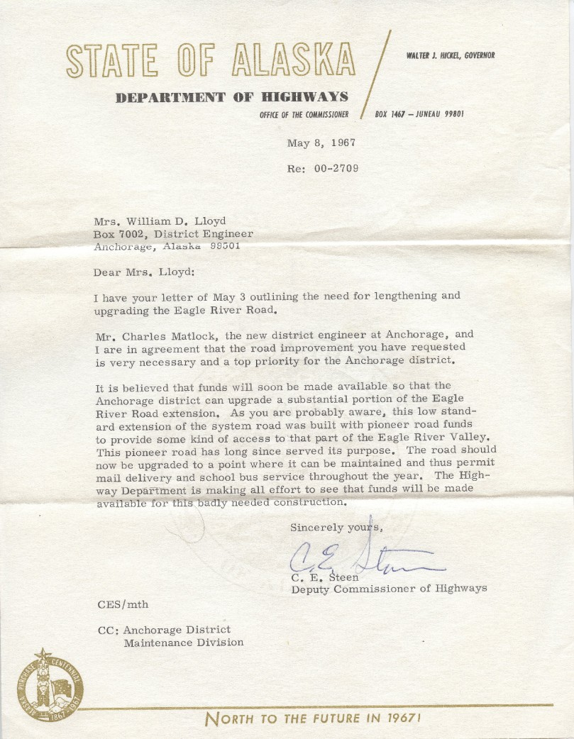 1967 dept hwy letter to mom