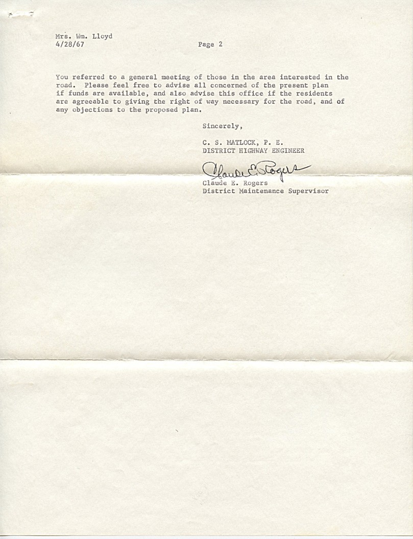 2 1967 state hwy letter