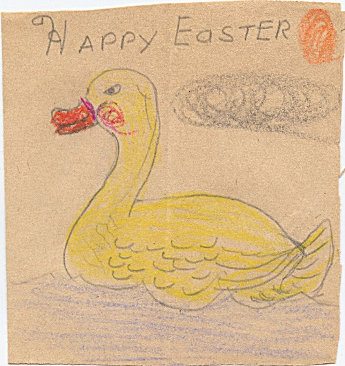 This is a 1962 (age 10) Easter card to grandma