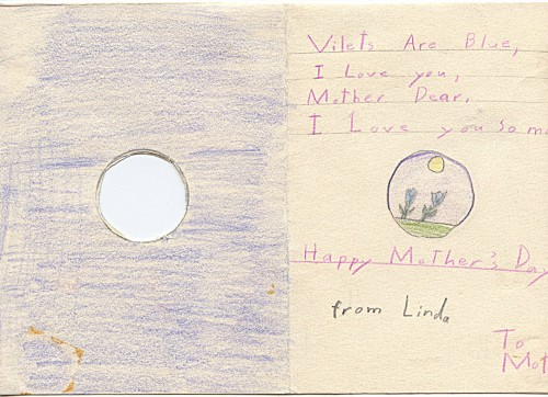 Here's the inside, Mother's Day card -- would be nice if whe and I were two flowers side by side!