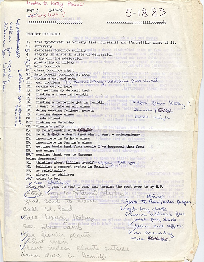 May 18, 1983 - A list made my a 31-year-old in crisis
