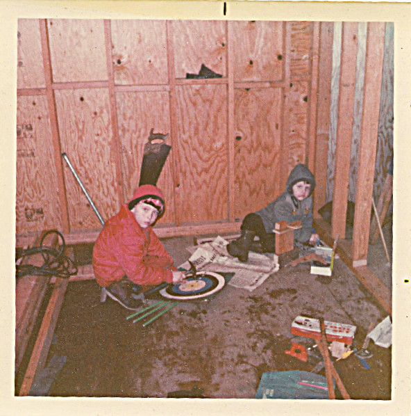circa 1968 - David and Steven - Dad adding bedroom end onto Jamesway