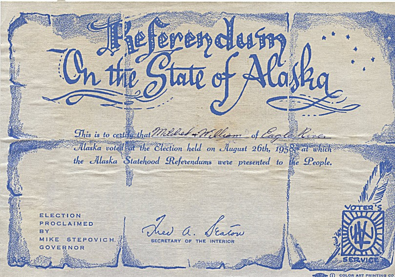 Election for Alaska Statehood August 26, 1958 - Mother Voted