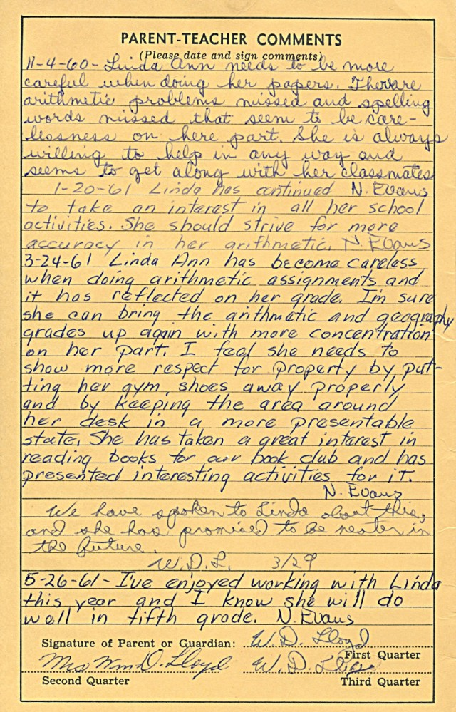 *Age 9 - 1960-61 4th grade report card (3/3)