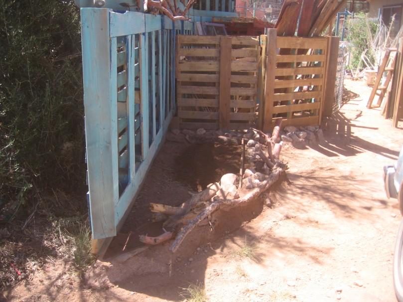 new garden bed outside goat pen
