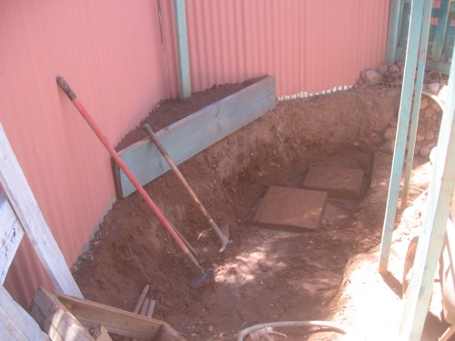 adobe mine hole - progress for small sunken patio - morning quiet space