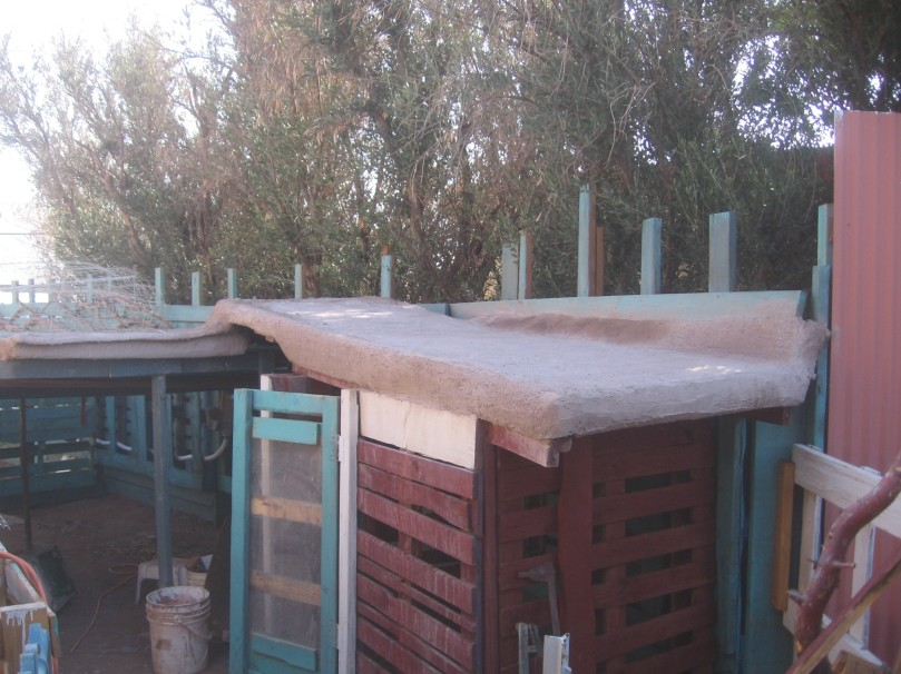Goat barn and shade area